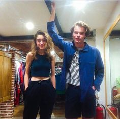 Look how cute they are - Natalia Dyer (Nancy Wheeler) and Charlie Heaton (Jonathan Byers) from Stranger Things