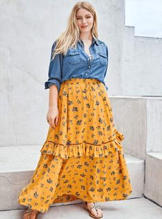 There is just something calming about the bright colors! Love the dress. Maxi Skirt Outfits, Dressy Outfits, Dress Skirt, Mustard Yellow Dresses, Yellow Floral Dress, Plus Size Skirts, Plus Size Outfits, Beautiful Long Dresses, Beautiful Ladies