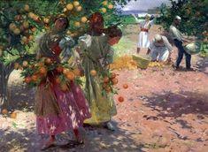 Valencianas cogiendo naranjas, Antonio Fillol Granell (1870-1930)