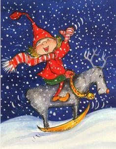 Postcrossing postcard from Finland Noel Christmas, Christmas Pictures, Vintage Christmas, Illustration Noel, Christmas Illustration, Kobold, Santa Sleigh, Winter Art, Scandinavian Christmas