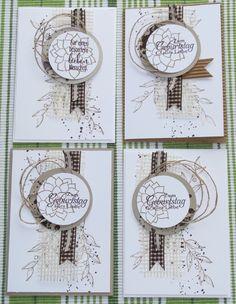 neutrale Geburtstagskarten, Stempel von Stampin' Up! Ich finde sie sind auch super für Herren geeignet ;-) masculine birthday card