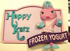 Foam Catfish Mascot Incorporated Into Dimensional Company Sign For Happy Katz Frozen Yogurt Shop