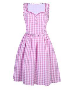 3-PCS-Women-039-s-Floral-Oktoberfest-Dirndl-Dress-German-Vintage-Costume-Pink-Plaid
