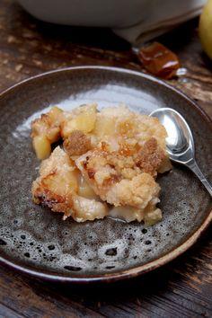 Crumble pomme et poire au caramel