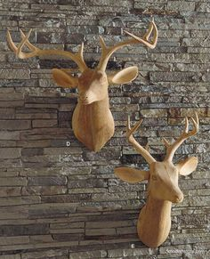 A much better option than the 'real thing'. =µ) Roost Carved Wood Deer Head, Facing Right, Deer head trophy – Modish Store Wood Deer Head, Faux Taxidermy, Home Decor Online, Animal Heads, Wooden Art, Wood Sculpture, Decoration, Wood Carving, Contemporary Furniture