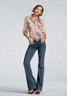trouser jean, print top