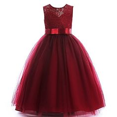 Glamulice Girls Lace Bridesmaid Dress Long A Line Wedding Pageant Dresses Tulle Party Gown Age Cute Dresses For Teens, Wedding Dresses For Kids, Girls Pageant Dresses, Cute Summer Dresses, Summer Outfits, Dress Flower, Tulle Dress, Flower Girl Dresses, Flower Girls