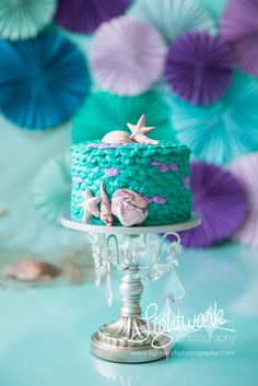 Mermaid cake for cake smash session made by Jen of Lightwork Photography with fondant shells form Seasonably Adorned on Etsy Little Mermaid Cakes, Little Mermaid Birthday, Little Mermaid Parties, Smash Cake Girl, 1st Birthday Cake Smash, Smash Cakes, First Birthday Parties, First Birthdays, Cake Smash Photography