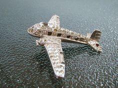 intage Crown Trifari Airplane Rhinestone Brooch 1940s Era Plane $375