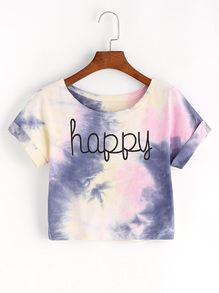 Shop Tie Dye Letter Print Crop T-shirt online. SheIn offers Tie Dye Letter Print Crop T-shirt & more to fit your fashionable needs. Tie Dye Crop Top, Crop Top And Shorts, Crop Top Outfits, T Shirt And Shorts, Crop Top Shirts, Tye Die Shirts, Tie Dye T Shirts, Cute Shirts, Teen Fashion Outfits