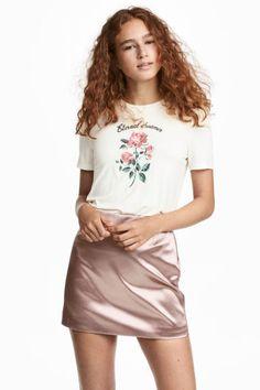İşlemeli Jarse Üst - Kırık beyaz/Gül - Ladies   H&M TR
