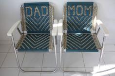 2 MACRAME WOVEN DAD / MOM ALUMINUM FRAME FOLDING PATIO BEACH CHAIRS EUC