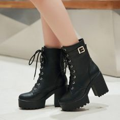 Lace Up Ankle Boots Plus Size Black Boots For Women is hot-sale. Come to NewChic to buy womens boots online. Platform Ankle Boots, Lace Up Ankle Boots, Platform High Heels, Lace Up Heels, High Heel Boots, Shoe Boots, Boot Heels, High Top Boots, Shoes Boots Combat