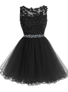 SIMI Bridal Women's A-line Beaded Appliques Tulle Short Homecoming Party Dress