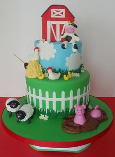 farm animal baby shower cakes | Baby Shower Farm Animals Cake