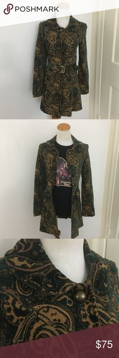 Retro Tapestry Coat with Belt Making green and gold coat with belt, rounded collar and large decorative button. Very 70s--perfect with a vintage tee and jeans. Also fancy enough to wear with fall dresses and boots! KLd. Signature Jackets & Coats