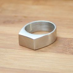 Mens Silver Ring Rectangle Top White Gold Plated Rings Handmade to Order