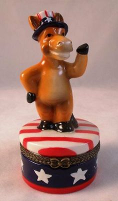 Political Party Democratic Donkey Hinged Trinket Box by Direct Connection. $9.88. Porcelain. approx. 3-3/4 inches high. Political Party Democratic Donkey Porcelain Hinged Trinket Box phb. Save 24% Off!