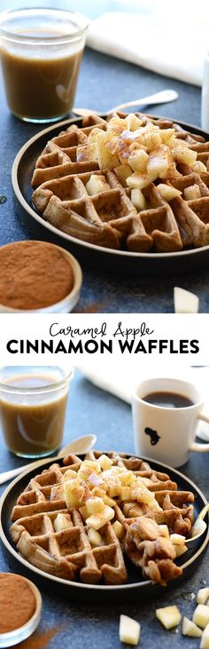 Tis the season of apples and cinnamon! You're going to love these HEALTHY caramel apple cinnamon waffles made with whole wheat flour, apple chunks, tons of cinnamon, and a homemade caramel sauce made from full-fat coconut oil! Thanks to Fit Foodie Finds Healthy Sweets, Healthy Dessert Recipes, Snack Recipes, Breakfast Recipes, Brunch Recipes, Sweet Breakfast, Eat Healthy, Healthy Snacks, Cinnamon Waffles