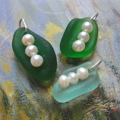 Sea Glass Jewelry - sweetpea seaglass & pearl pendants. Would make great earrings too!