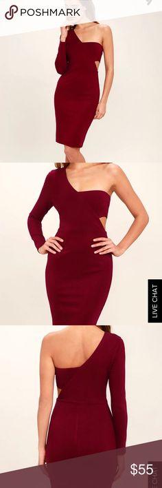 Lulu's one shoulder bodycon dress burgundy, M NWT! Lulu's 'one night' one shoulder bodycon dress with cutout details. Burgundy. Lulu's Dresses One Shoulder