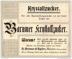 Original-Werbung/ Anzeige 1901 - BARUMER KRYSTALLZUCKER / BREMER & SPÖRR BARUM - ca. 100 x 80 mm