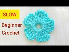 How to crochet a simple flower I Easy crochet flower tutorial for beginners - YouTube Crochet Stitches For Blankets, Crochet Stitches For Beginners, Beginner Crochet Projects, Crochet Videos, Crochet Basics, Crochet 101, Crochet Flower Tutorial, Crochet Flower Patterns, Crochet Cowl Free Pattern