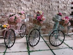 Dollhouse Miniature Shabby Chic Bike with by IttyBittyAndCute
