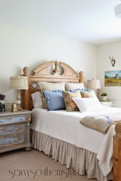 Blues and naturals.  So Pretty.  French Country Style Guest Room Reveal..via Savvy Southern Style