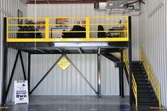 Garage Storage With Mezzanine Garage House, Garage Loft, Garage Shed, Barn Garage, Man Cave Garage, Garage Plans, Garage Workshop, Dream Garage, Garage Office
