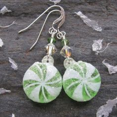 Cute Holiday earrings with lightweight acrylic candy drops, Green and Clear AB Swarovski Crystal accents and simple Sterling Silver earwires.   These will hang approximately 1 3/4