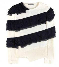 Pullover Mit Plissee-rüschen