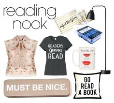 """Reading Time"" by cici-rahma on Polyvore featuring interior, interiors, interior design, home, home decor, interior decorating, Nook, Needle & Thread, James Read and Kate Spade"