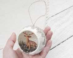 Peek-a-Boo Ornament Woodland Deer Scene with by smilemercantile
