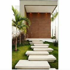 Arquitetura Minimalist House Design, Minimalist Home, Lanscape Design, Outdoor Steps, Garden Steps, Staircase Design, House Front, Interior Design Living Room, Garden Design