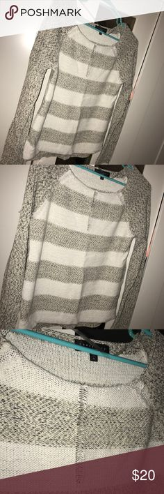 Grey and white sweater White and grey cute sweater with accent in the middle. Super soft! Sweaters