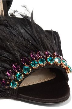 Miu Miu - Crystal And Feather-embellished Satin Sandals - Black - IT