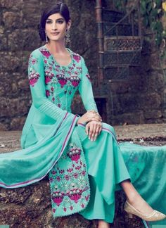 Turquoise Embroidery Work Designer Cotton Satin Pakistani Palazzo Suit http://www.angelnx.com/Salwar-Kameez/Pakistani-Suits