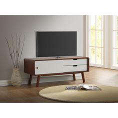 Armani Mid-century Modern Dark Walnut and White Two-tone Finish 2-drawer with Sliding Door Wood TV Cabinet