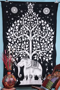 Elephant Tree Tapestry Good Luck White elephant by Labhanshi, $15.99