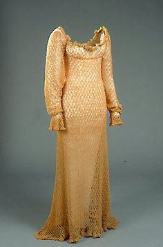 Dress: ca. early 1800's, knitted wool.