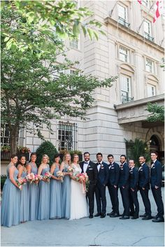 Dusty Blue and Coral Interfaith Wedding at the National Museum of Women in the Arts / Sarah Bradshaw Photography / Bridal Party Portraits at the Hay-Adams Hotel in Washington DC Steel Blue Bridesmaid Dresses, Wedding Bridesmaid Dresses, Light Blue Bridesmaids, Light Blue Suit Wedding, Prom Dresses, Wedding Blue, Formal Dresses, Summer Wedding, Steel Blue Weddings