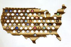 USA Beer Cap Map LASER ENGRAVED Beer Bottle by DiamondWoodcomua