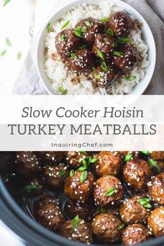 Sweet and savory, these meatballs cook in just a few hours in the slow-cooker and make a great appetizer or quick weeknight dinner with rice and vegetables. Easy Turkey Recipes, Dinner Recipes Easy Quick, Quick Weeknight Dinners, Fall Recipes, How To Cook Meatballs, Turkey Meatballs, Asian Meatballs, Slow Cooker Recipes, Crockpot Recipes