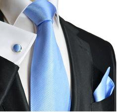 6addd18eff26 Paul Malone Necktie, Pocket Square and Cufflinks Silk Solid Blue This  elegant Paul Malone Silk Necktie is Hand Made from pure Silk This Necktie  Set