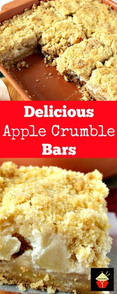 Delicious Apple Crumble Bars. These are absolutely out of this world! Chunks of…