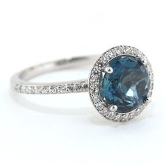London Blue Topaz Engagement Ring Diamond Side by SerenadeDiamonds  -except with a sapphire!