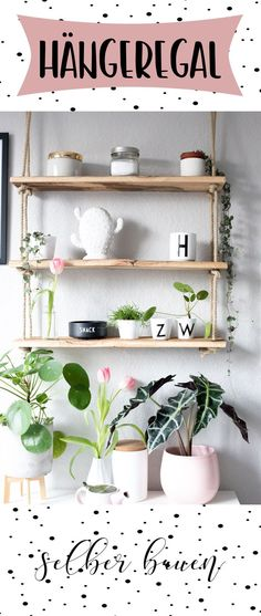 DIY Möbel selber bauen Build a simple hanging shelf yourself! Minimal material costs and minimal eff Diy Outdoor Furniture, Diy Furniture Plans, Furniture Makeover, Shelf Furniture, Pallet Furniture, Diy Bedroom Decor, Diy Home Decor, Diy 2019, Palette Diy
