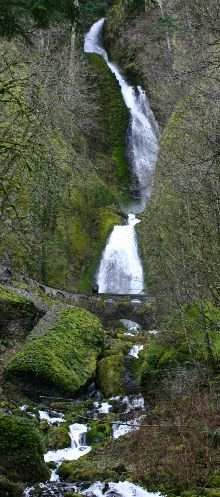 Wakeena Falls. Columbia River Gorge. Oregon-Historic HWY 30. Legend has it that Wakeena sacrificed herself by jumping off the falls in order to cure her tribe of a plague. This story gets intermixed with Multnomah falls which is more visible.