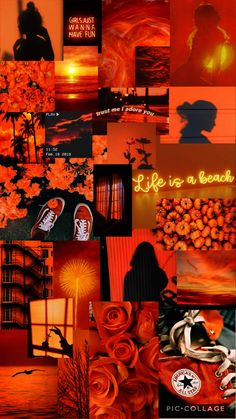 a orange aesthetic collage for a phone background. Wallpaper Collage, Iphone Wallpaper Images, Collage Background, Cute Patterns Wallpaper, Iphone Background Wallpaper, Orange Background, Iphone Backgrounds, Background Vintage, Wallpaper Quotes